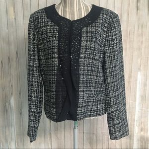 Ellen Tracy Tweed Blazer Black And White Sz 14